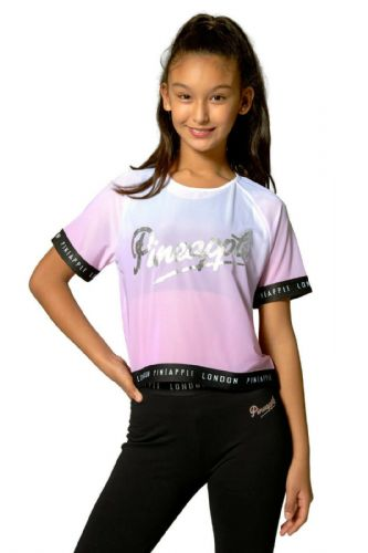 PINEAPPLE DANCEWEAR Girls Ombre Mesh Jacquard Dance Top Tee Pink Silver Logo
